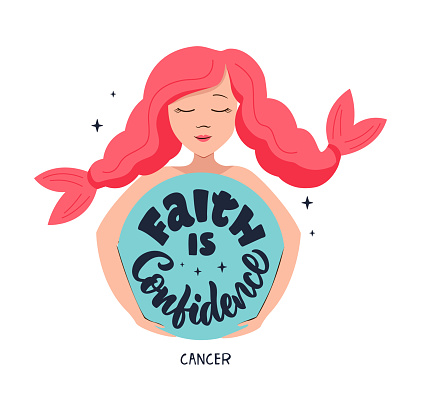 This is zodiac symbol - Cancer and cosmos girl. The motivation phrase - Faith Is Confidence.