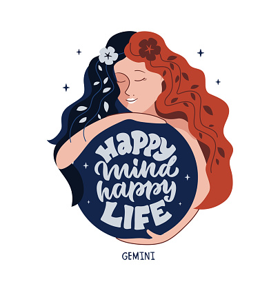 This is zodiac symbol - Gemini and magic girl. The motivation phrase - Happy mind, happy life