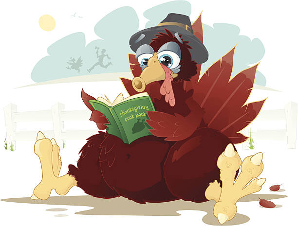 This Pilgrim Turkey is a little worried. vector art illustration