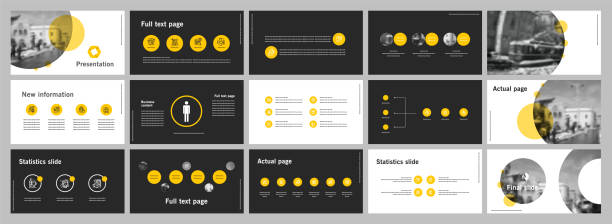 This template is the best as a business presentation, used in marketing and advertising, flyer and banner, the annual report. Elements on a dark grey background This template is the best as a business presentation, used in marketing and advertising, flyer and banner, the annual report. Elements on a dark grey background presentation stock illustrations