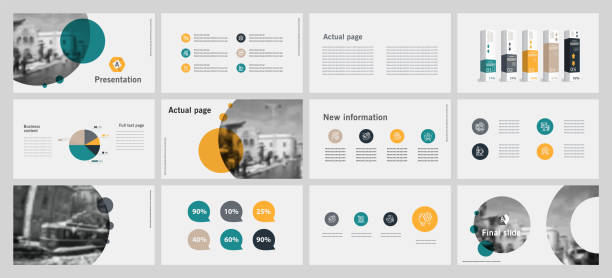 this template is the best as a business presentation, used in marketing and advertising, flyer and banner, the annual report. elements on a dark grey background - annual reports templates stock illustrations