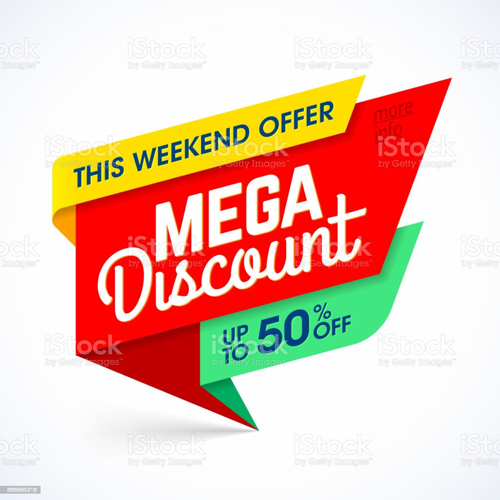 This weekend mega discount banner vector art illustration