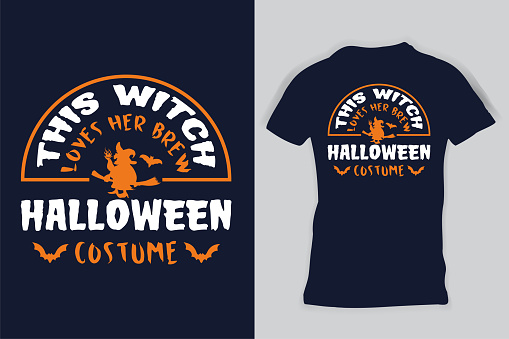 This Witch Loves Her Brew Halloween Costume Gift T-shirt