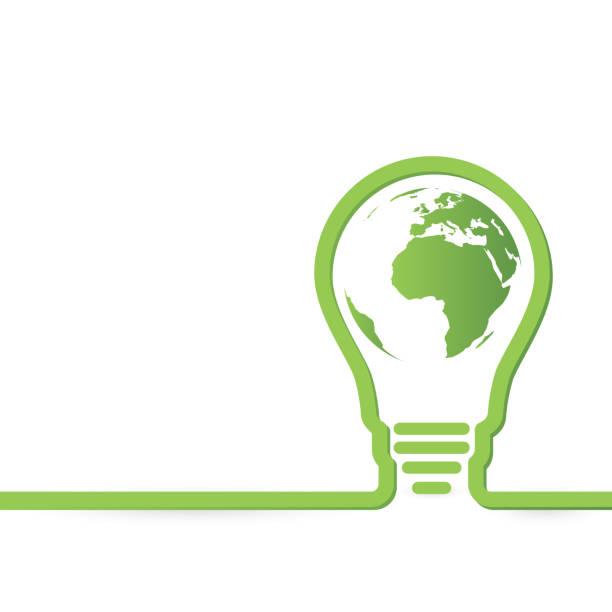 Thnk concept vert ampoules avec carte du monde et de la feuille à l'intérieur - Illustration vectorielle