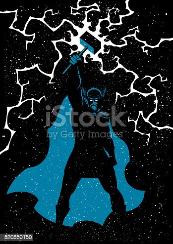 Vector illustration of Scandinavian god Thor in 3 colors. No transparency and gradients used.