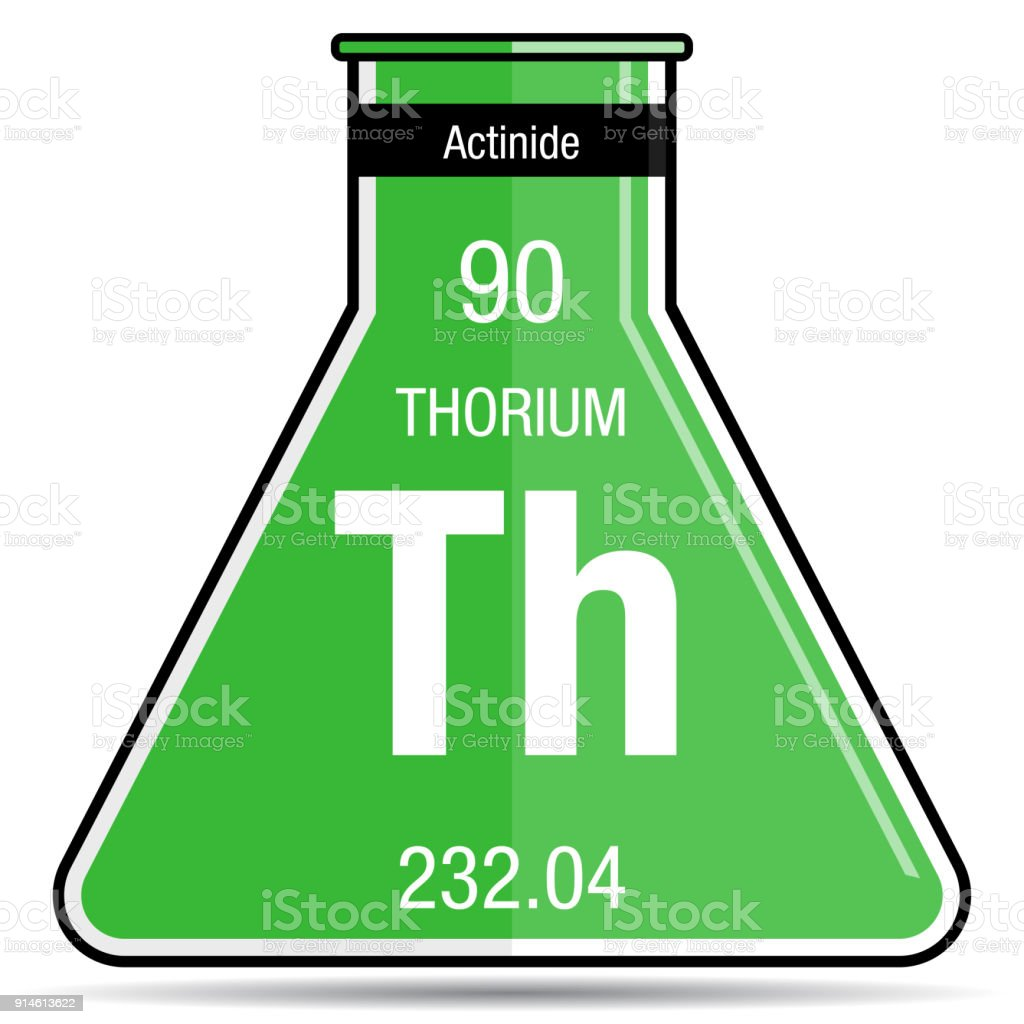 Thorium Symbol On Chemical Flask Element Number 90 Of The Periodic