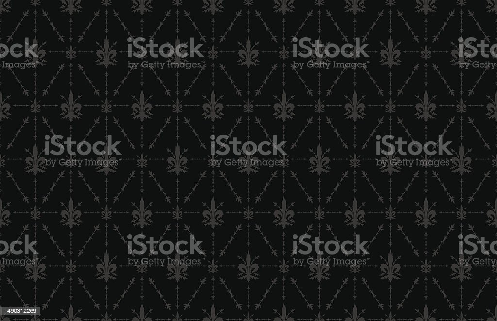 Thorny Fleur de Lis Wallpaper Background Black vector art illustration