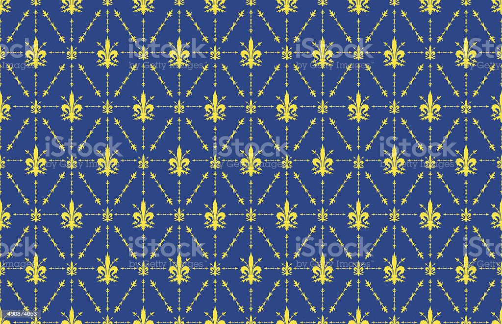 thorny fleur de lis wallpaper background blue and gold