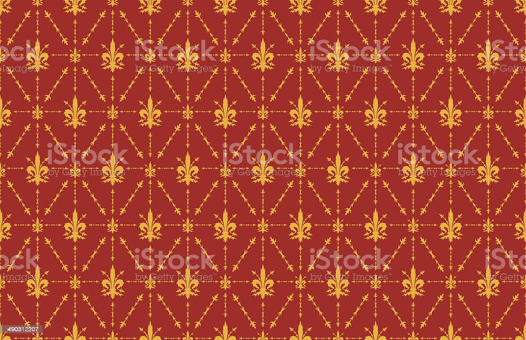 Thorny Fleur De Lis Wallpaper Background Red And Gold Stock