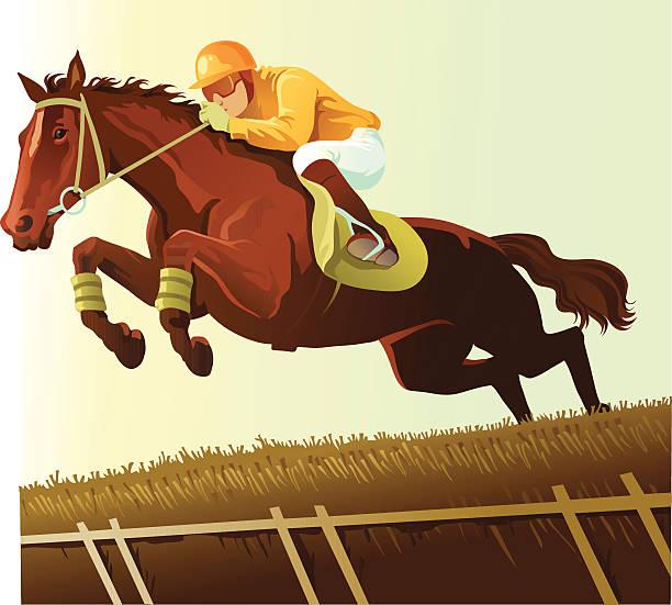 통관 a 허들 있는 서러브레드 경마 - horse racing stock illustrations