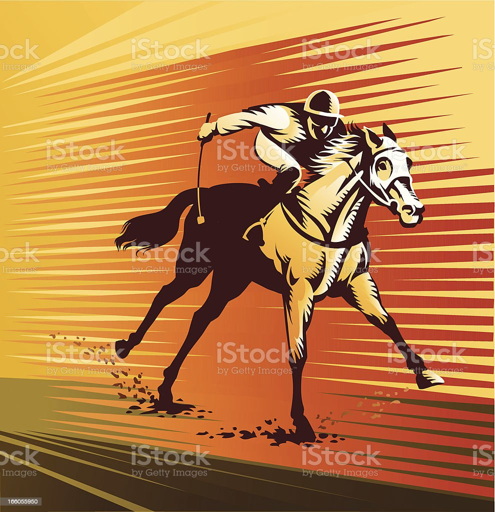 Thoroughbred Horse at Full Speed royalty-free stock vector art
