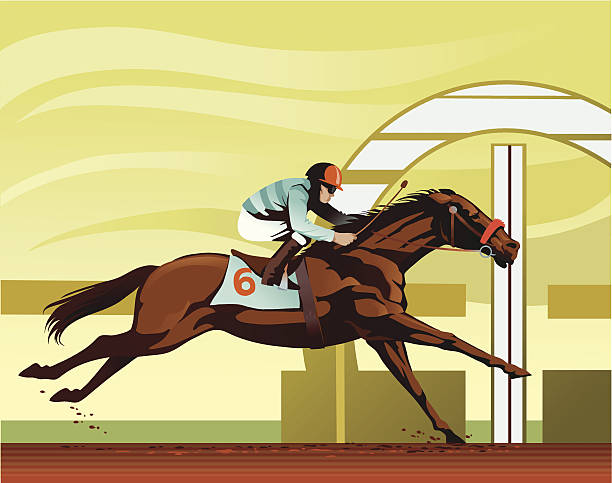 thoroughbred horse racing at full stretch - horse racing stock illustrations