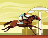 Thoroughbred Horse Racing at Full Stretch