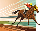 Illustration of a powerful purebred horse and jockey winning the horse race. Al the main elemements of illustration are placed on separate layers for easy editing. High resolution JPG and Illustrator 0.8 EPS included.