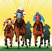 Front view illustration of group of horses and riders racing at the main event. All images are placed on seperate layers for easy editing. High resolution JPG and Illustrator 0.8 EPS included.