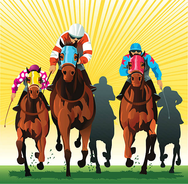 thoroughbred horses racing to the finish line - horse racing stock illustrations