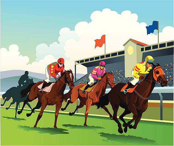 bildbanksillustrationer, clip art samt tecknat material och ikoner med thoroughbred horses racing to the finish line - racehorse track