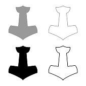 Thor's hammer Mjolnir icon set grey black color illustration outline flat style simple image