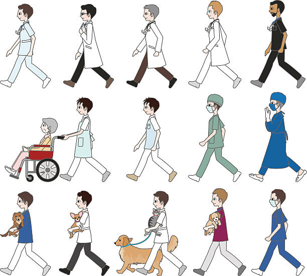 those who are walking / doctor&nurse - old man mask stock illustrations