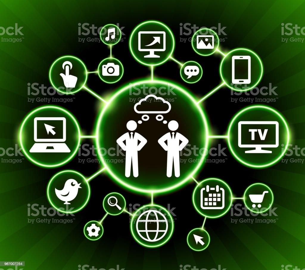 Though Bubble Internet Communication Technology Dark Buttons Background vector art illustration