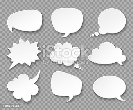 Thought balloons. Paper white speech clouds. Thinking bubbles retro 3d comics vector set