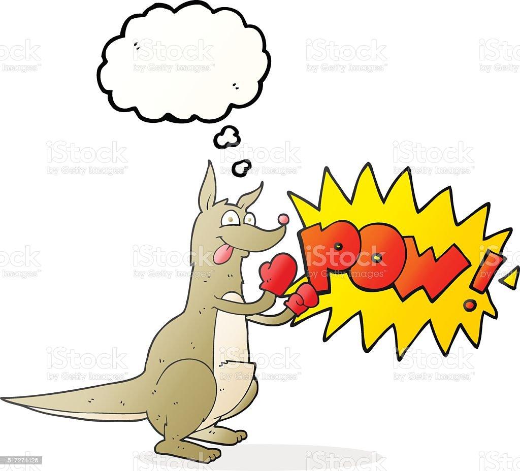 thought bubble cartoon boxing kangaroo vector art illustration