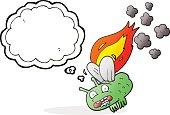 thought bubble cartoon fly crashing and burning