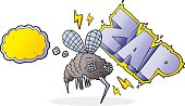 thought bubble cartoon fly zapped