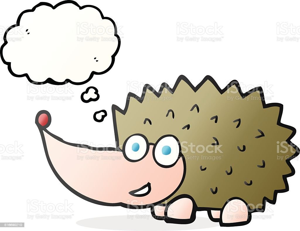 Gedanken Sprechblasenkarikatur Igel Stock Vektor Art Und Mehr Bilder
