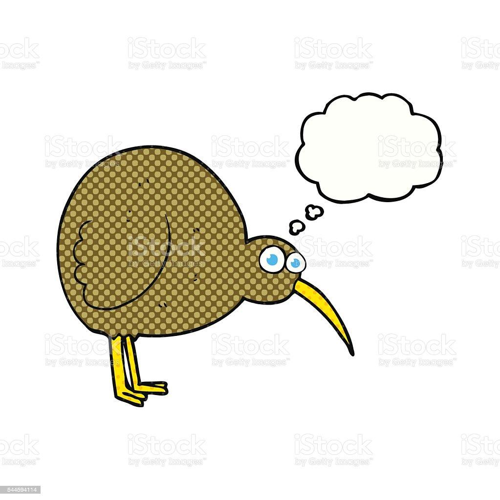 thought bubble cartoon kiwi bird vector art illustration