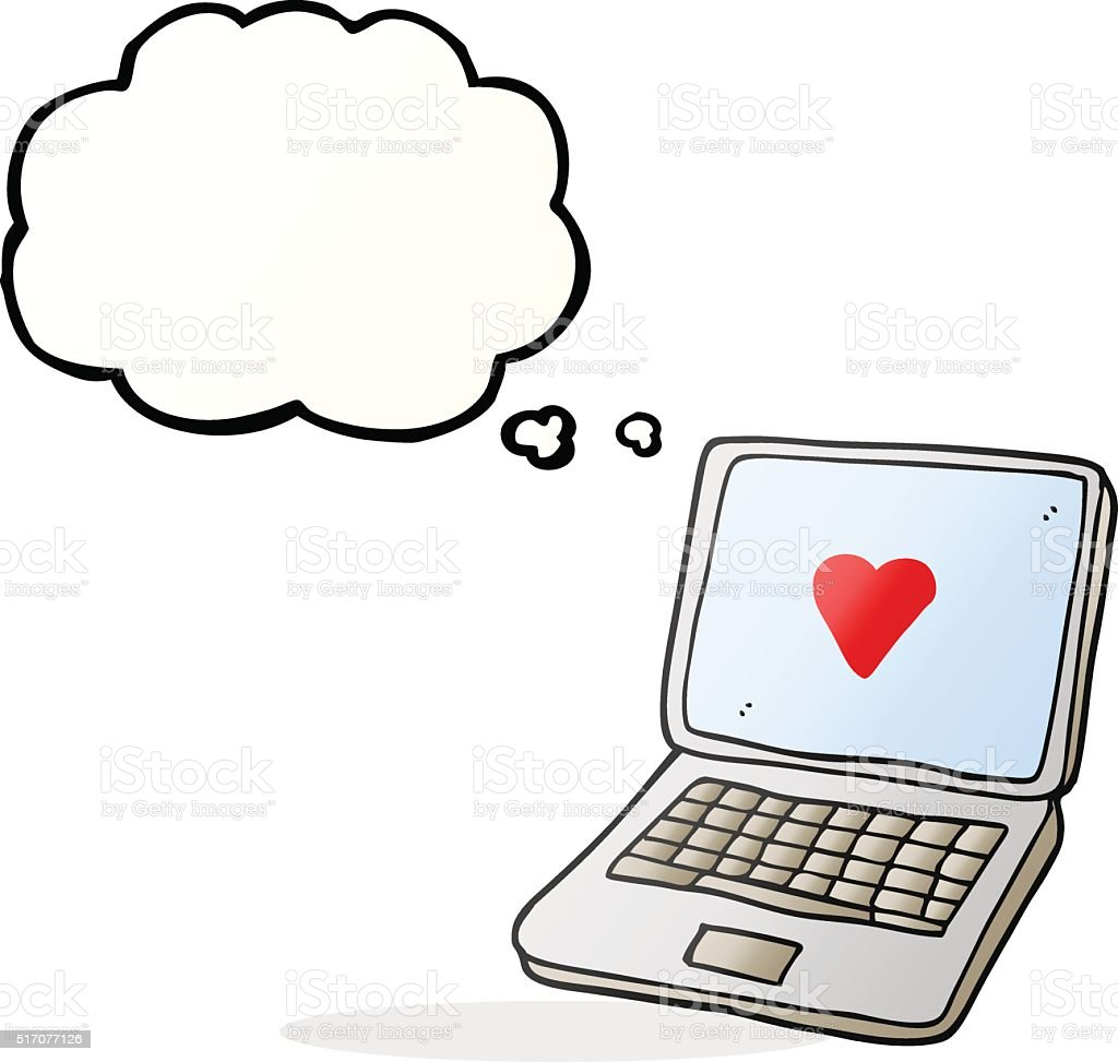 Thought bubble cartoon laptop computer with heart symbol on scre thought bubble cartoon laptop computer with heart symbol on scre royalty free stock vector art biocorpaavc