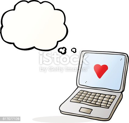 Thought Bubble Cartoon Laptop Computer With Heart Symbol On Scre