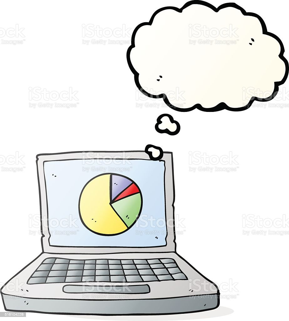 Thought Bubble Cartoon Laptop Computer With Pie Chart Stock Vector