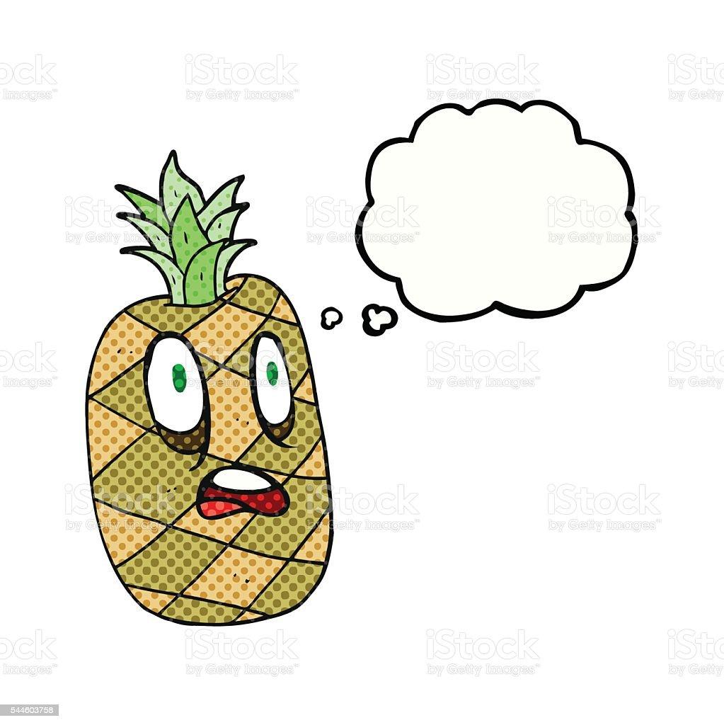 Ananas Rysunek chmurą z kreskówka z dymkami ananasa - stockowe grafiki