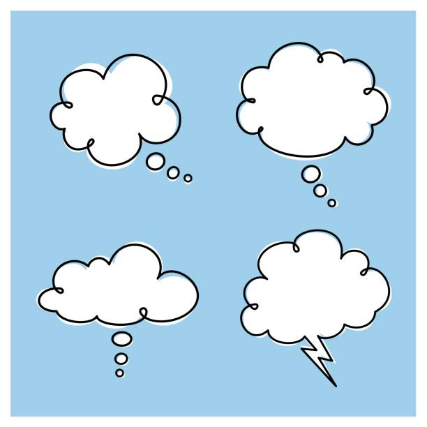 Thought Clouds vector art illustration