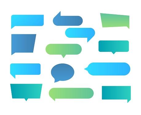 Thought shapes. Text chat speech rectangular bubbles, conversation talk shape, dialog flat shape. Vector text bubbles gradient