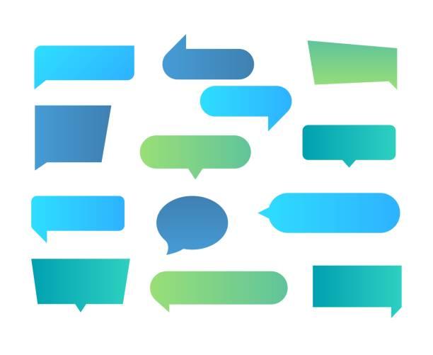 Thought shapes. Text chat speech rectangular bubbles, conversation talk shape, dialog flat shape. Vector text bubbles gradient Thought shapes. Text chat speech rectangular bubbles, conversation talk shape, dialog flat shape. Vector text bubbles gradient set speech bubble stock illustrations