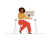 Thoughtful African businesswoman works at the computer and thinks or solves the problem. Vector illustration isolated on white.