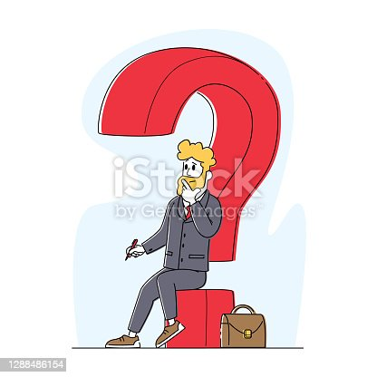 istock Thoughtful Business Man Sitting on Huge Question Mark with Pen in Hand and Briefcase. Male Character Thinking, Solution 1288486154