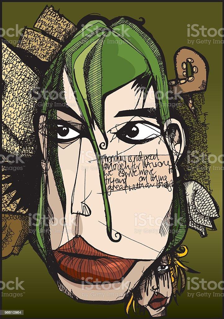 Thoughtful Face vector art illustration