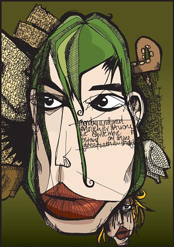 Thoughtful Face Stockvectorkunst en meer beelden van Abstract