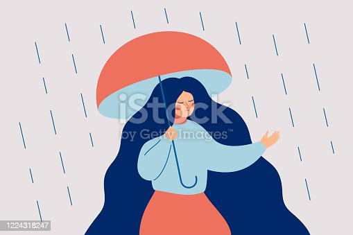 A thoughtful girl experiences anxiety and concern before stepping out of her comfort zone. Concept of a difficult choice, decision making. Psychology vector illustration
