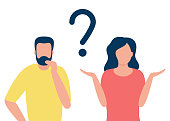 istock Thoughtful man and doubting woman with question mark. People solve problem, choose solution. Concept of dispute, conflict, deadlock. I do not know. Vector flat design illustration 1195791938