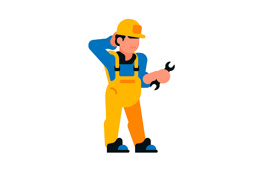 Thoughtful worker holding a wrench in his hands. Builder and wrench. Vector illustration isolated on white background.