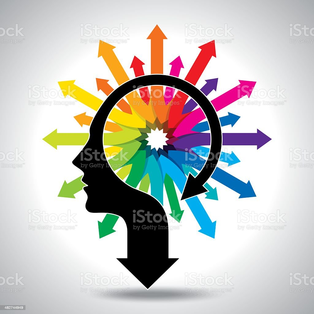 Thoughts and options head with arrows vector art illustration