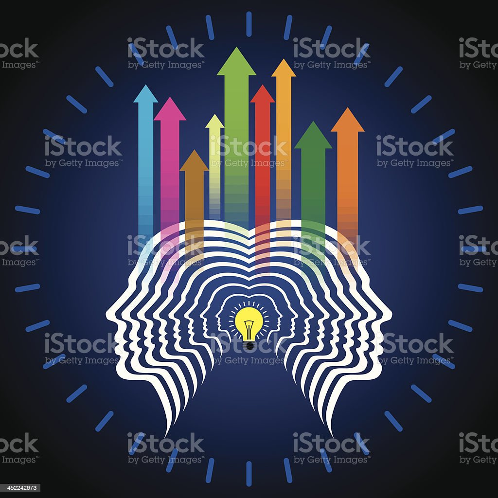 Thoughts and options,  head with upward arrows royalty-free thoughts and options head with upward arrows stock vector art & more images of adult