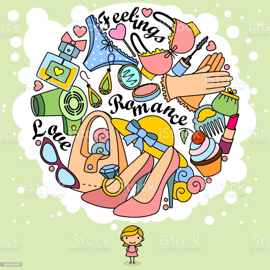 Thoughts of a girl in doodles. royalty-free thoughts of a girl in doodles stock vector art & more images of beauty