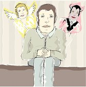 Sketch of a sitting male with angel and devil behind his shoulder. conflict / conscience concept.