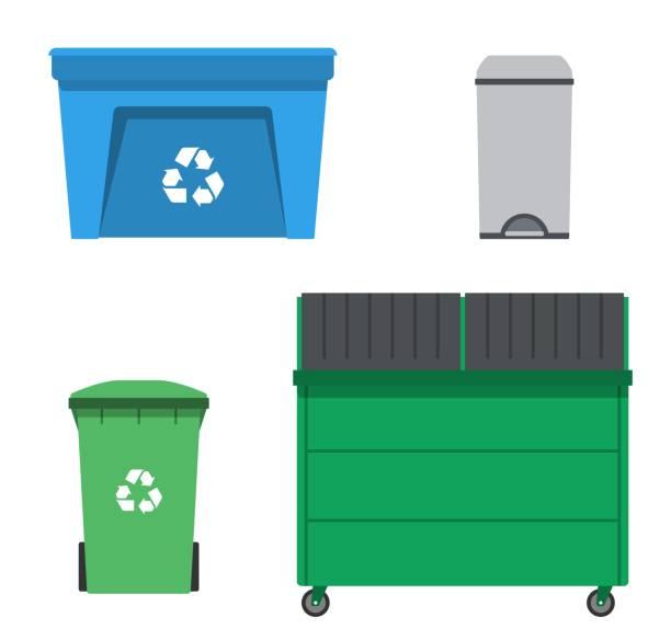 stockillustraties, clipart, cartoons en iconen met thrash en recycling kunnen. huisvuil container set. - container