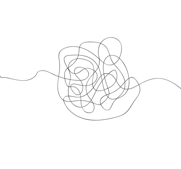 a thread drawn from the hand. hand drawn object from the beginning and the end. isolated scrawl sketch on white background - squiggle line stock illustrations, clip art, cartoons, & icons